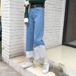 OCTALE - Color Block Wide Leg Jeans