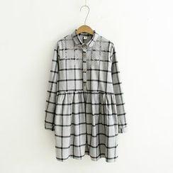 Angel Love - Embroidered Window Pane Shirtdress