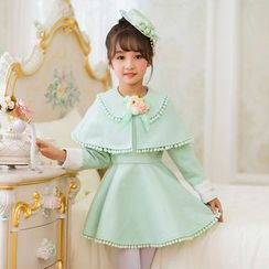 Candy Rain - Kids Long-Sleeve Mock Two Piece A-line Dress