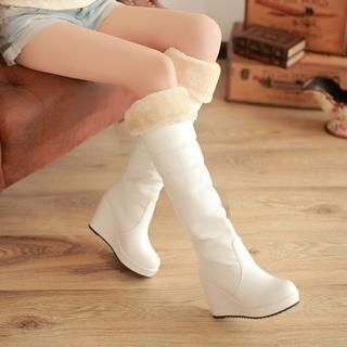 77Queen - Furry-Trim Wedge Tall Boots