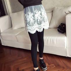ANGELA - Leggings Inset Lace Skirt