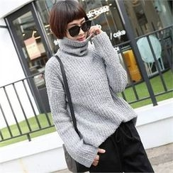 CHICFOX - Turtle-Neck Drop-Shoulder Sweater