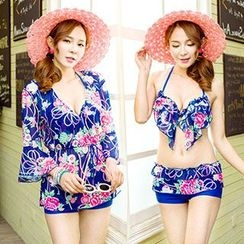 Little Dolphin - Set: Floral Print Bikini Top + Swim Shorts + Cover-Up