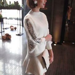 Seoul Fashion - Sequined-Trim Ruffle-Hem Knit Minidress