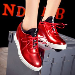 JY Shoes - Lettering Hidden Wedge Lace-Up Shoes