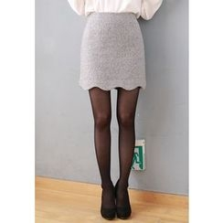MyFiona - Scallop-Hem Wool Blend Mini Skirt