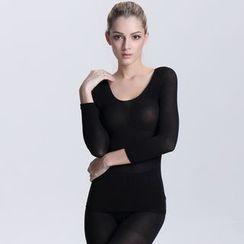 camikiss - Set: Plain Long-Sleeve T-Shirt + Leggings