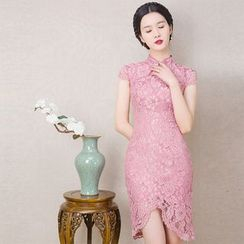 Royal Style - Cap Sleeve Lace Cheongsam