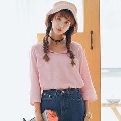 Sienne - 3/4-Sleeve Plain T-Shirt