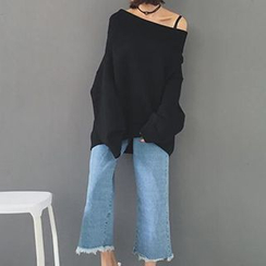 Miss Kekeli - Cropped Raw Hem Wide Leg Jeans
