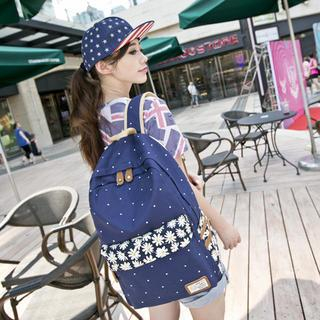 VIVA - Floral Print Dotted Canvas Backpack