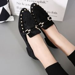 Anran - Studded Velvet Loafers