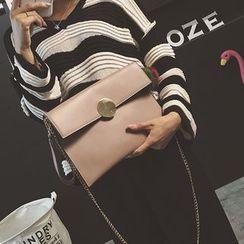 Clair Fashion - 韓國金屬圓扣錬條手拿包