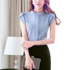 Princess Min - Short-Sleeve Blouse / Pleated Pencil Skirt