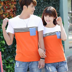 Igsoo - Couple Striped Panel T-Shirt