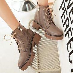 Gizmal Boots - Block Heel Platform Lace-Up Short Boots