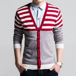 JEUX - Stripe Colour Block Cardigan