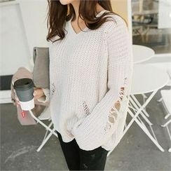 ZIZIBEZIRONG - V-Neck Distressed Sweater