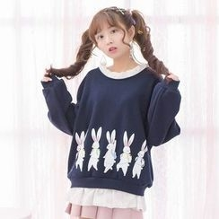 Moriville - Rabbit Print Mock Two-Piece Pullover