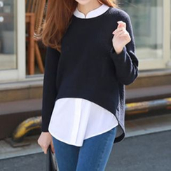 Champi - Long-Sleeve Mock Two Piece Blouse