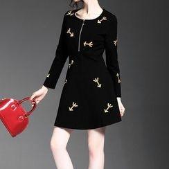 Alaroo - 七分袖刺繡連衣裙