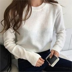 QNIGIRLS - Crew-Neck Cable-Knit Sweater