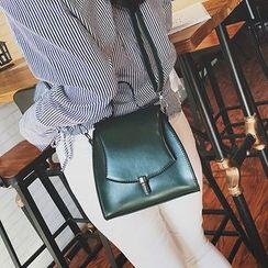 BAGuette - Plain Faux Leather Crossbody Bag
