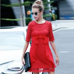 Elabo - Embellished Crochet Shift Dress
