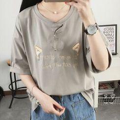菲兒 - 刺绣短袖T裇