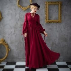 Coeur Wedding - Plain Long-Sleeve Evening Dress