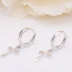 Zundiao - Sterling Silver Cross Pendant Earrings