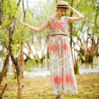 CatWorld - Elastic-Waist Patterned Sleeveless Dress