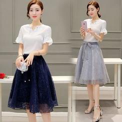 Crista - Set: Top + Lace Skirt