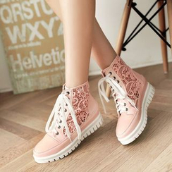 Pretty in Boots - Lace Hidden Wedge Sneakers