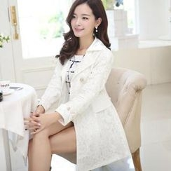 Flower Creek - Cuffed Lace Trench Coat