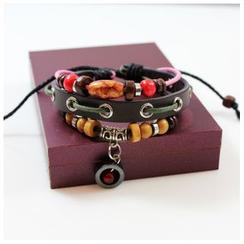 KINNO - Beaded Genuine Leather Bracelet