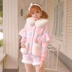 糖果雨 - 格子毛呢外套