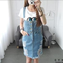 CYNTHIA - Distressed Denim Suspender Skirt