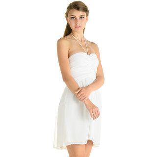 59 Seconds - Tie-Neck Halter Ruched Dress