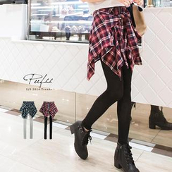 PUFII - Inset Plaid Skirt Leggings