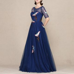 LYRA - Embroidered Elbow-Sleeve Evening Gown