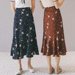Porta - Floral Print Midi Chiffon Skirt