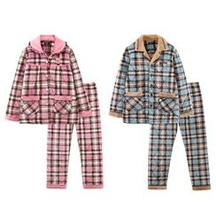 Hodohome - Pajama Set: Quilted Plaid Shirt + Pants