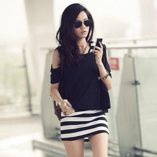 PUFII - Set: Striped Hooded Tank + Cut-out Shoulder Top
