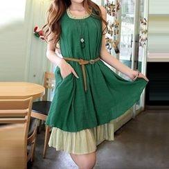 Furuto - Linen Cotton Chiffon Tank Dress