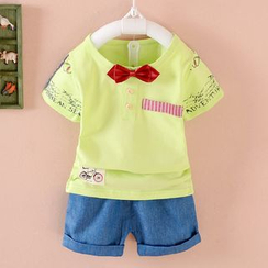 POMME - Kids Set: Bow Short-Sleeve Top + Shorts
