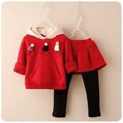 Rakkaus - Kids Set: Hooded Paneled Pullover + Inset Skirt Leggings