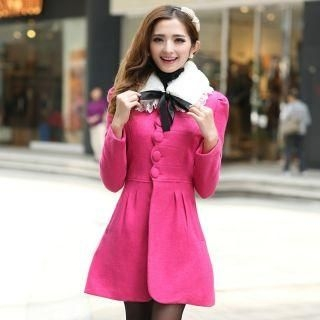 Mooiee - Wool-Blend Furry-Collar Bow-Back Coat