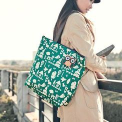 SUPER LOVER - Printed Appliqué Tote