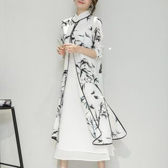 Wisteria - Set: Sleeveless Keyhole-Front Dress + 3/4-Sleeve Printed Cardigan
